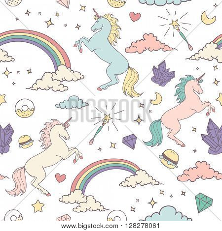 Magic seamless pattern with unicorn, rainbow, stars and crystals