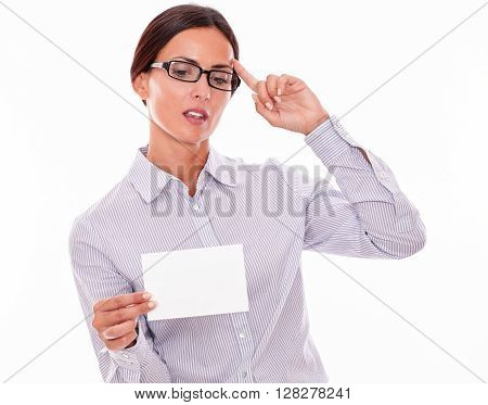 Thinking Brunette Businesswoman With Copy Space