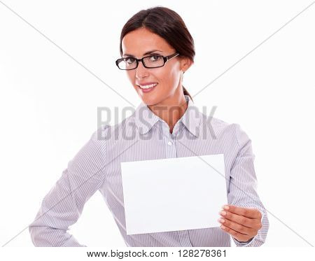 Smiling Businesswoman With A Blank Signboard