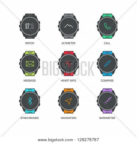 Smart watch functions thin line icons set. Exclusive gadget outline sign vector illustration.