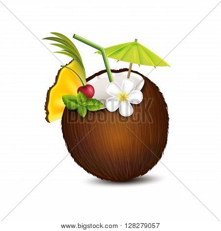 Tropical cocktail in coconut on a white background