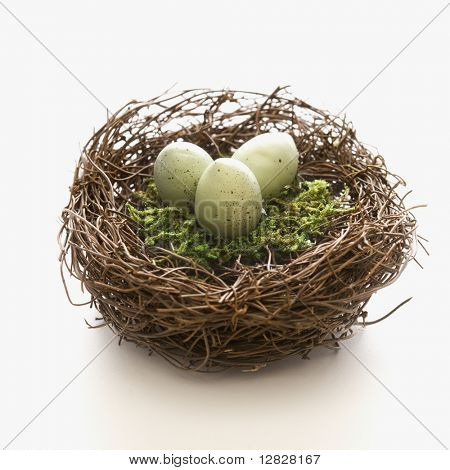 Studio still life of bird's nest with three speckled eggs.
