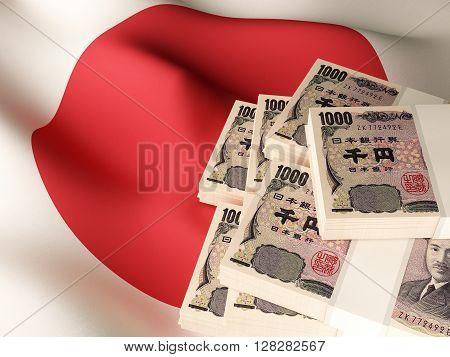 Japanese yen banknote bundles on textile textured Japan flag. 3d rendering.