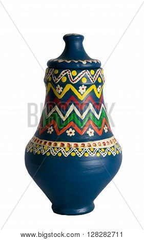 An Egyptian decorated colorful pottery vessel (arabic: Kolla) made of clay one of the oldest habits of the Ancient Egyptians one of the art works of Ebtessam ElGohary a contemporary Egyptian artist specialized in pottery painting art. The piece shown here