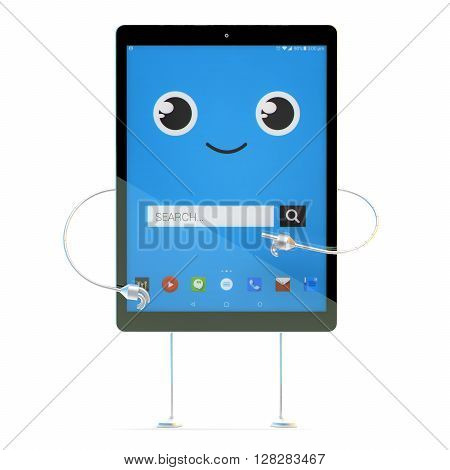 Tablet cartoon character. Search concept. 3D illustration. Isolated. Contains clipping path
