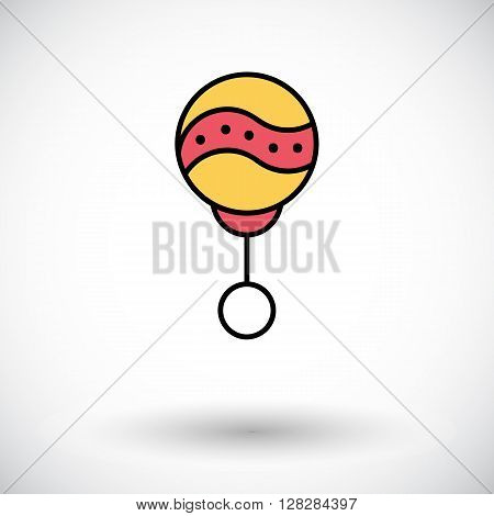 Rattle icon. Flat vector related icon with long shadow for web and mobile applications. It can be used as - logo, pictogram, icon, infographic element. Vector Illustration.