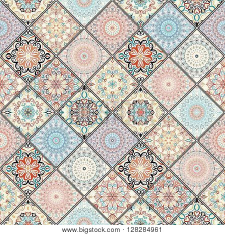 Rich tile ornament from colorful mandalas. Seamless pattern in oriental style. Square tile patchwork design. Intricate tile pattern. Boho chic tile pattern for fashion fabric, furniture, wallpaper. poster