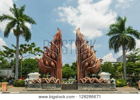 SURABAYA, INDONESIA - MARCH 25:Tugu Pahlawan - National Monument in Surabaya Heroes Day. March 25, 2016, East Java Indonesia