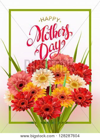 Mothers Day Lettering, poster, advertising of spring flowers Gerber. Summer bouquet of flowers on light background. Isolate sign and flowers.Vector illustration