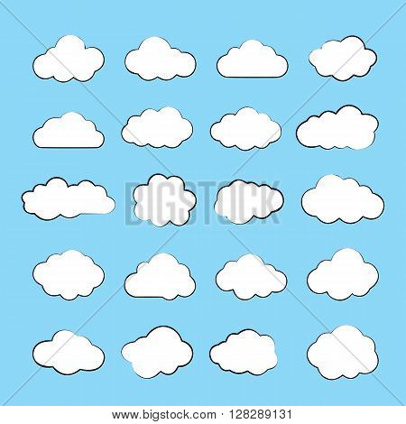 Clouds. Cloud shapes flat icons set. Cloud symbols. Clouds isolated on blue background. Collection of cloud pictograms. Vector icons of clouds flat style. EPS8 vector illustration.