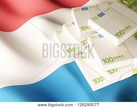 Euro banknote bundles on textile textured Netherlands flag. 3d rendering.