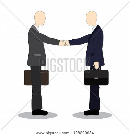 Handshake colleagues at the meeting. Business etiquette.