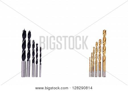 Various metall drill bits isolated on white
