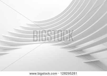 White Architecture Circular Background. Abstract Interior Design. 3d Modern Architecture Render. Futuristic Building Construction