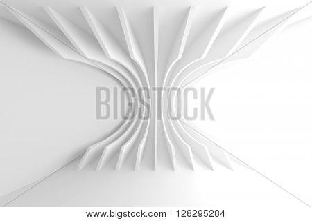 White Architecture Circular Background. Abstract Interior Design. 3d Modern Architecture Render. Futuristic Building Construction