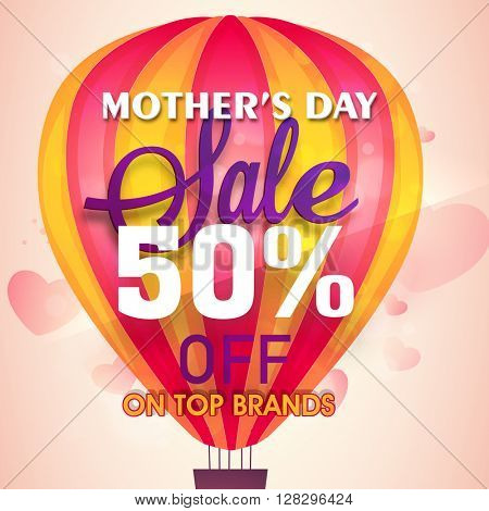 Mother's Day Sale Poster, Sale Banner, Sale Flyer, 50% Off, Top Brands Sale. Creative illustration with glossy hot air balloon on hearts decorated background.