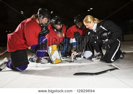 Women hockey players on ice looking at game plan with coach.