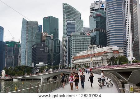 SINGAPORE - FEB 19, 2016: Buildings skyline in business district Marina Bay. Singapore is considered a global financial hub, with Singapore banks offering world-class corporate bank account facilities
