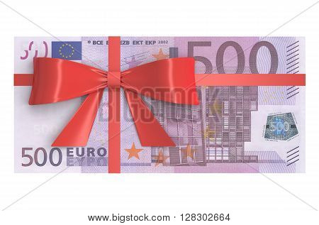 Wad of 500 Euro banknotes with red bow gift concept. 3D rendering