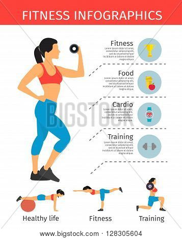 Sportive lifestyle infographics with  elements of fitness information for workout and woman in sportwear vector illustration