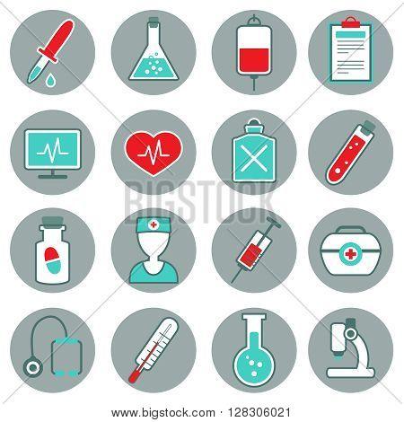 Medicine flat icons set with pills thermometer pulse test tube dropper syringe stethoscope poison isolated vestor illustration