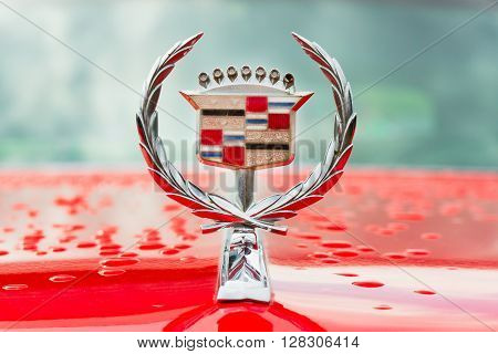 Minsk, Belarus - May-5-2012: Logo Of Vintage Cadillac Motor Car Close Up At Old Car Fest Show In Min
