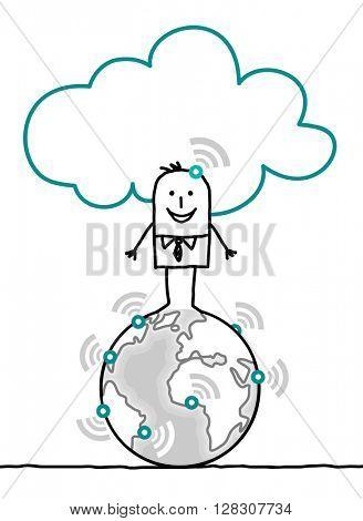 cartoon characters and cloud - world
