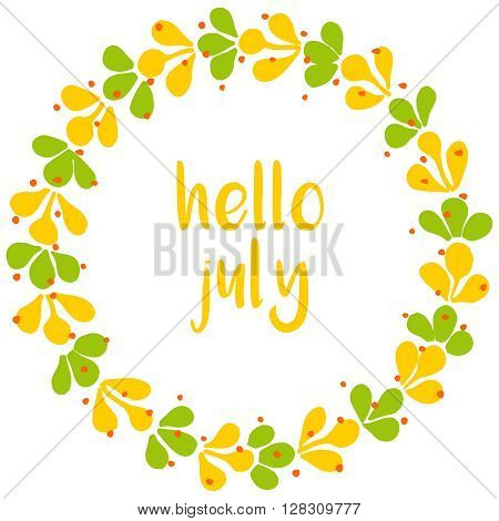 Hello july wreath sunny yellow and green vector card