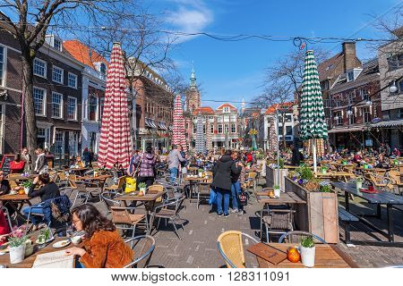 The Hague Netherlands - April 21 2016: Grote Markt with unidentified people. The Grote Markt is one of the main squares where the nightlife is happening.