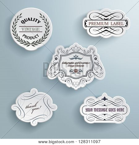 Collection of calligraphic paper labels on a blue background with shadows