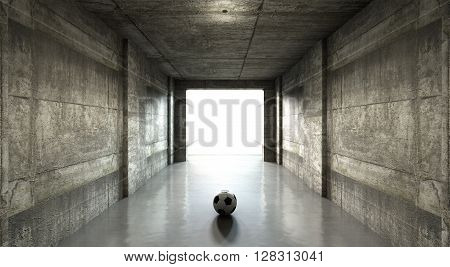 A 3D rendering  of a distant look down a dark stadium sports tunnel to enter a lit arena in the distance with a soccer ball placed in the entrance