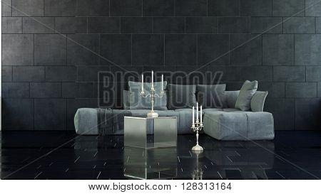 Pair of candelabras on floor and table in marble surfaced 3D rendered room with large soft cushion sofa. 3d Rendering.