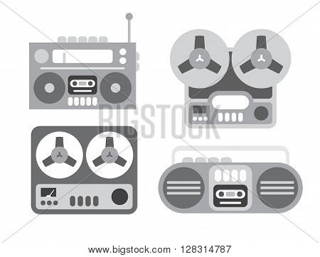 Four old players gray flat vector icons isolated on a white background. Boom box and tape recorder.