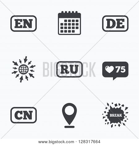 Calendar, like counter and go to web icons. Language icons. EN, DE, RU and CN translation symbols. English, German, Russian and Chinese languages. Location pointer.