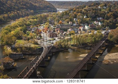 A view from above of the historical town of Harpers Ferry, West Virginia, located at the confluence of the Potomac and Shenandoah Rivers.
