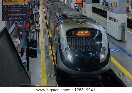 Rio de Janeiro Brasil - March 06 2016: Passengers leaving the station subway train in the city of Rio de Janeiro