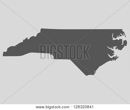 Black map of the State of North Carolina - vector illustration. Simple flat map State of North Carolina.