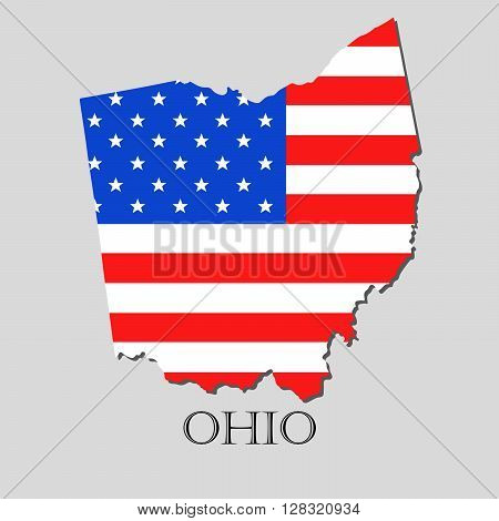Map of the State of Ohio and American flag illustration. America Flag map - vector illustration.