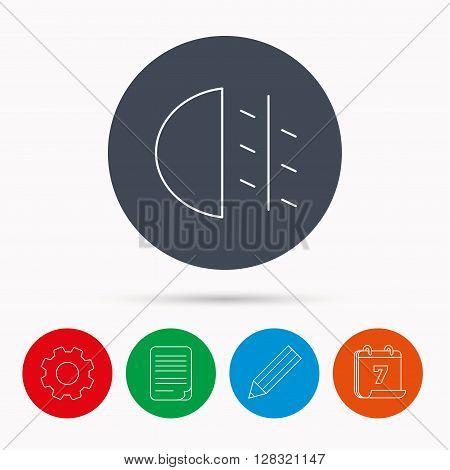 Fog lights icon. Car beam sign. Calendar, cogwheel, document file and pencil icons.