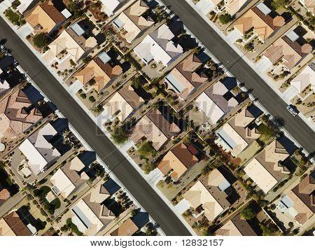 Aerial view of suburban neighborhood urban sprawl in Las Vegas, Nevada.