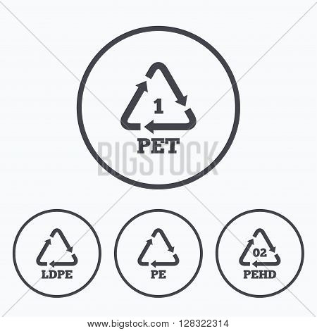 PET, Ld-pe and Hd-pe icons. High-density Polyethylene terephthalate sign. Recycling symbol. Icons in circles.