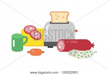 Quick lunch vector illustration.