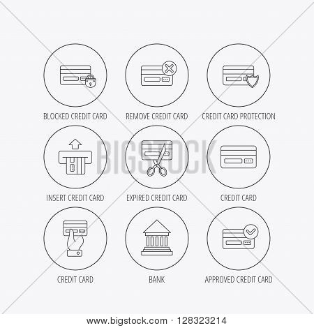 Bank credit card icons. Banking, blocked and expired debit card linear signs. Money transactions and shopping icons. Linear colored in circle edge icons.