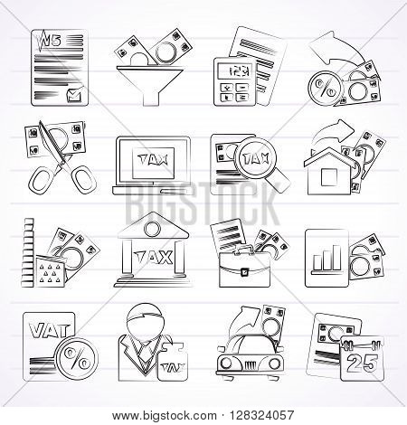 Taxes, business and finance icons - vector icon set