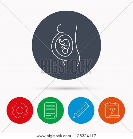 Pregnancy icon. Medical genecology sign. Obstetrics symbol. Calendar, cogwheel, document file and pencil icons.
