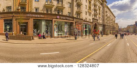 MOSCOW, RUSSIA - 1 May , 2016:  -  Pedestrianized Tverskaya Street street in the spring morning road blocked