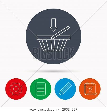 Shopping cart icon. Online buying sign. Calendar, cogwheel, document file and pencil icons.