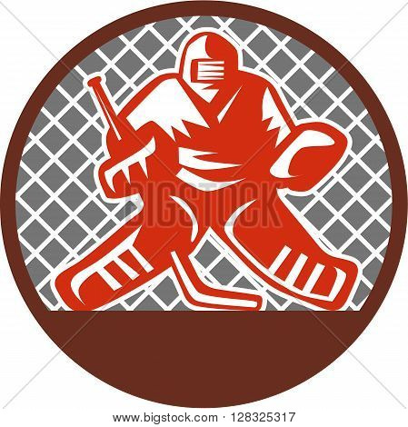 Illustration of a ice hockey goalie wearing helmet holding hockey stick set inside circle viewed from the front with net on the background done in retro style.