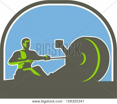 Illustration of a rower exercising on a rowing machine viewed from the side set inside half circle done in retro style.