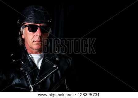 Old School Biker On Black
